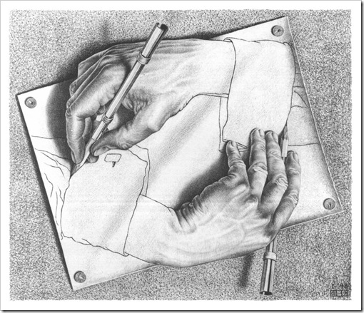 Escher drawing hands