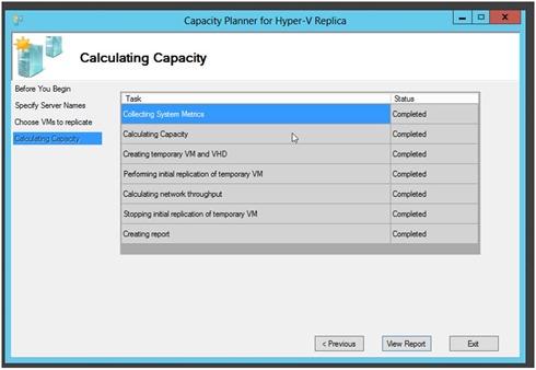 Capacity planner Hyper-V Replica